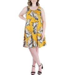 plus size print sleeveless knee length dress