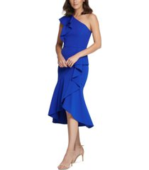 vince camuto petite one-shoulder ruffled sheath dress