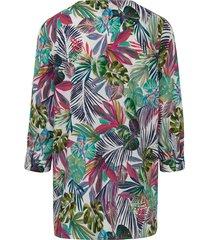 blouse met 3/4-mouwen en bladmotieven van looxent multicolour