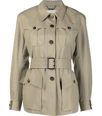 chloé multiple-pocket belted-waist jacket - neutrals