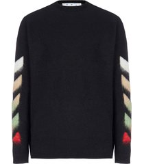 off-white diag brushed wool and mohair sweater