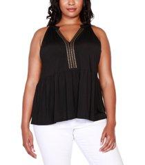 belldini black label plus size embellished sleeveless peplum top