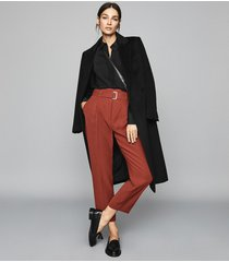 reiss cacey - slim fit tailored trousers in rust, womens, size 10