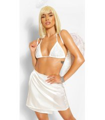 angel diamante bikini top, white