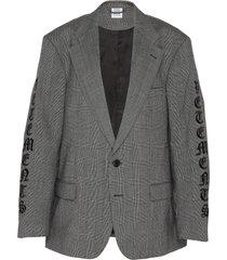gothic logo embroidered sleeve virgin wool blend blazer