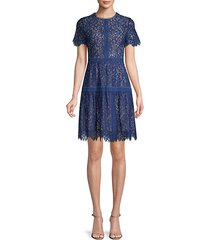 floral lace cotton-blend mini dress
