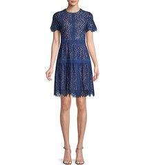 floral lace cotton-blend mini dress