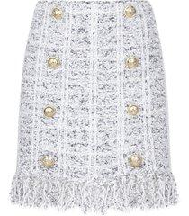 balmain fringed buttoned tweed miniskirt