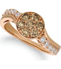 le vian champagne diamond (3/4 ct. t.w.) statement ring in 14k rose gold