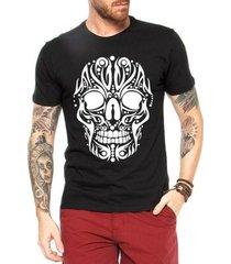 camiseta criativa urbana caveira tattoo tribal cartas
