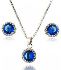 conjunto lua mia joias redondo azul bic com zircônias brancas banho ródio