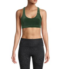 vimmia women's open back sports bra - emerald - size xs