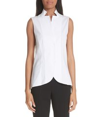 women's akris notch collar blouse, size 8 - white