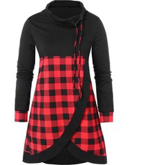 plus size plaid panel cowl neck sweatshirt