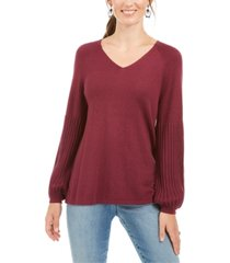 style & co petite bishop-sleeve tunic sweater, created for macy's