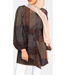 camicetta casual da donna con maniche a sbuffo con stampa scozzese etnica