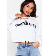 womens take me to copenhagen cropped graphic sweatshirt - white
