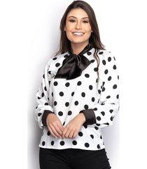 camisa camisete feminina seda poá manga longa laço casual