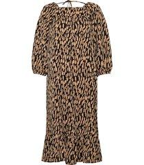 slfmalene 3/4 long dress ex jurk knielengte bruin selected femme