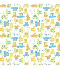 papel de parede adesivo carrinhos infantil 2,70x0,57m - verde - dafiti