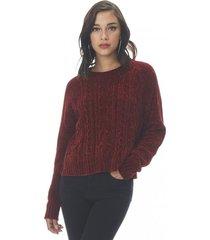 sweater trenzado chenille mujer burdeo corona