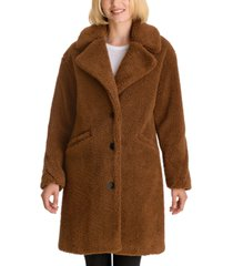 lucky brand notch-collar teddy faux-fur coat
