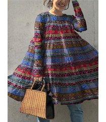 camicetta vintage da donna con maniche a log o scollo a righe etniche