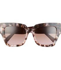 women's valentino 54mm square sunglasses - havana pink/ grad brown pink