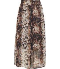 kafally skirt knälång kjol multi/mönstrad kaffe