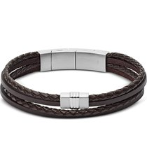 fossil designer men's bracelets, brown multi strand braided leather men's bracelet