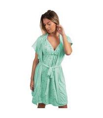 camisola amamentaçáo com robe bella fiore modas verde água