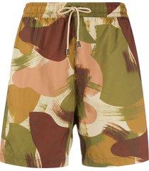 ymc camouflage-print swim shorts - green