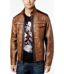 inc international concepts men's jones two-tone faux-leather jacket, created for macy's