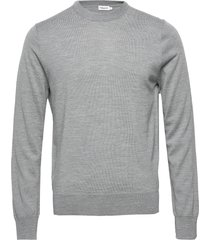 m. merino sweater stickad tröja m. rund krage grå filippa k