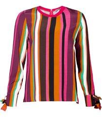 geisha 93654-20 735 top vertical stripes camel/pink combi