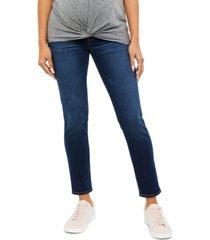 indigo blue maternity distressed skinny jeans