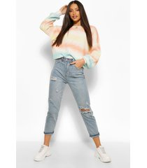tall pastel rainbow tie dye stripe knitted sweater, multi