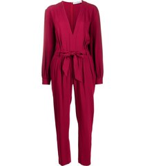 iro belted waist jumpsuit - red