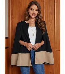 yoins black color blocking cape coat
