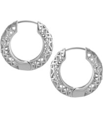 open lace hoop earring in fine silver plate