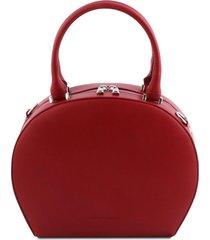 tuscany leather tl141872 ninfa - bauletto rotondo in pelle rosso