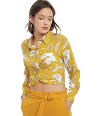 blusa nrg flores amarillo - calce regular