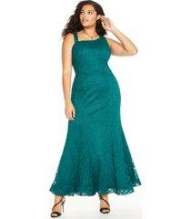 bcx trendy plus size glitter-lace mermaid gown