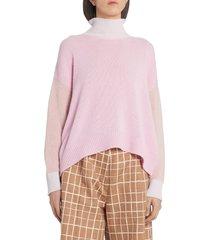 women's marni colorblock cashmere turtleneck sweater