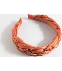 alba satin braided headband in pink - mauve