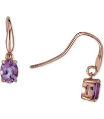 amethyst oval drop earrings (2-3/8 ct. t.w.) in 14k rose gold-plated sterling silver