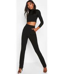 tall skinny crêpe broek met zakken, zwart