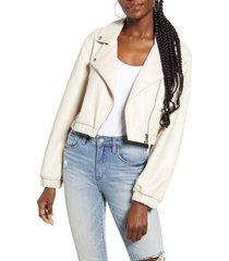 women's blanknyc drop shoulder faux leather crop moto jacket, size large - beige