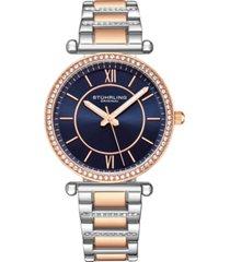stuhrling original women's crystal studded rose case and bracelet, silver dial 36mm watch