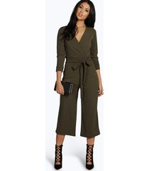 roll sleeve relaxed culotte jumpsuit, khaki